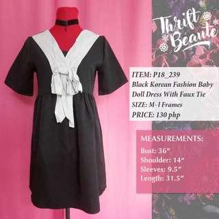 Black Korean Fashion Baby Doll Dress With Faux Tie