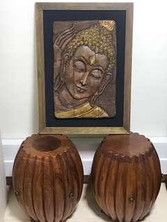 Rosewood Pumpkin stool and buddha with frame