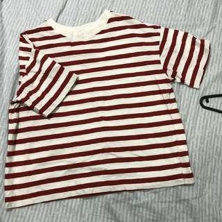 🚚 UNIQLO 橘紅色條紋上衣