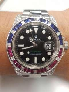 Rolex gmt master 2 116710 with Saru 116759 customized diamond setup 4sale cheap!