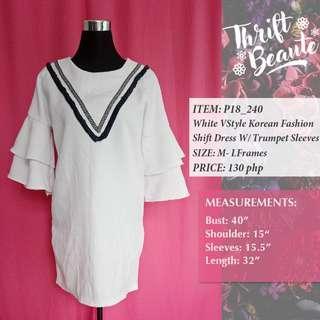White V-Style Korean Fashion Shift Dress With Trumpet Sleeves