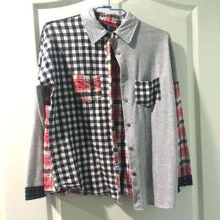 🚚 日系 古著 拼布 格子格紋襯衫