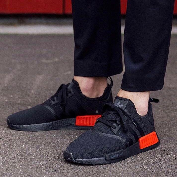 online retailer 161ab da964 Adidas NMD R1 Blackout Lush Red, Men's Fashion, Footwear ...