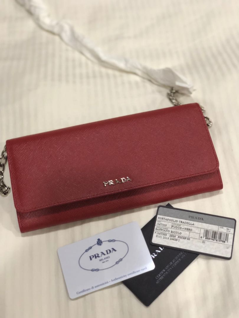 561d73e9b163 Authentic Prada Saffiano wallet on chain, Luxury, Bags & Wallets, Wallets  on Carousell