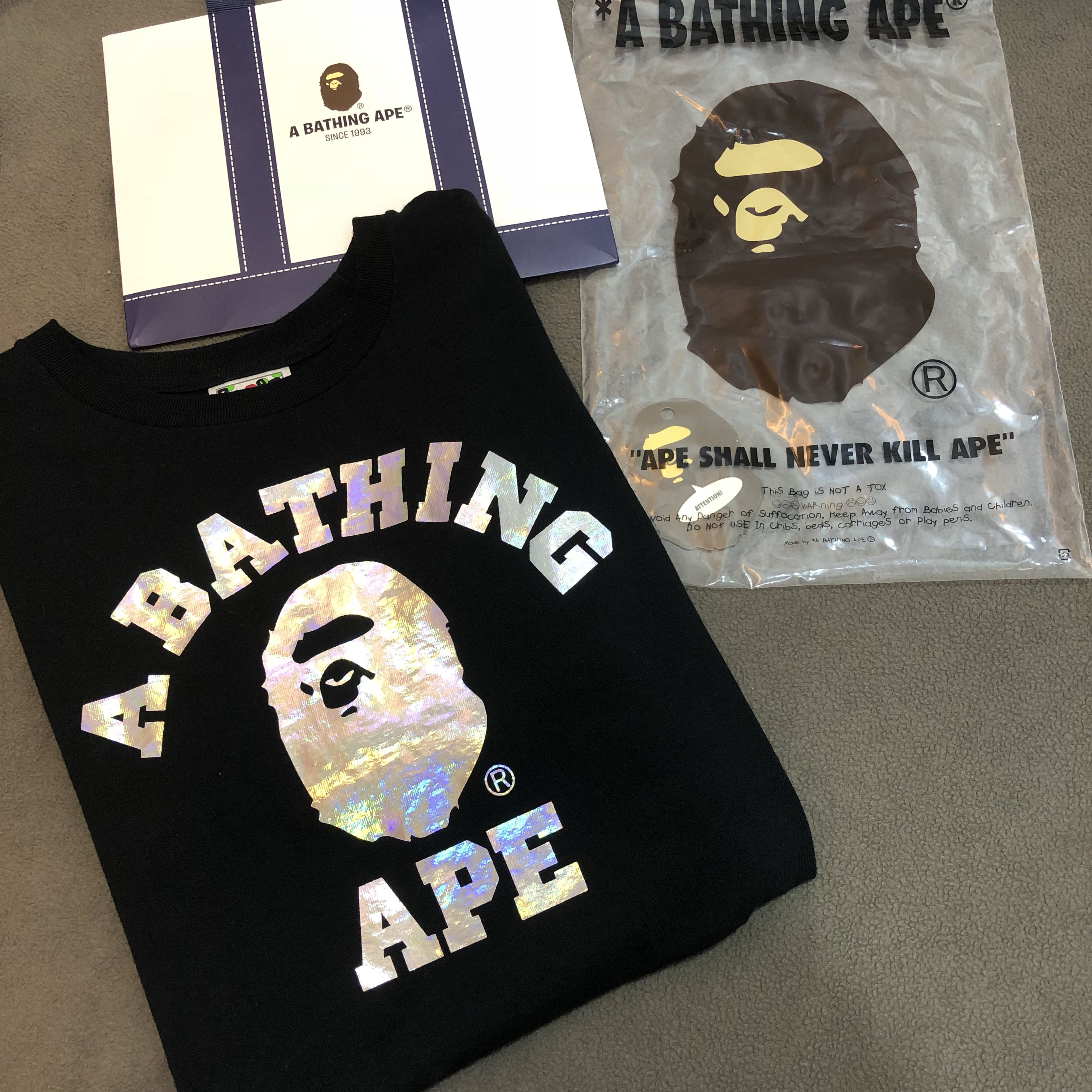 4d6c518c5 Bape Hologram college tee, Men's Fashion, Clothes, Tops on Carousell