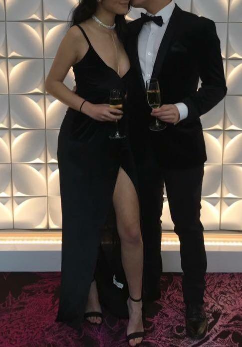 BLACK Velvet Formal Dress with Leg Split