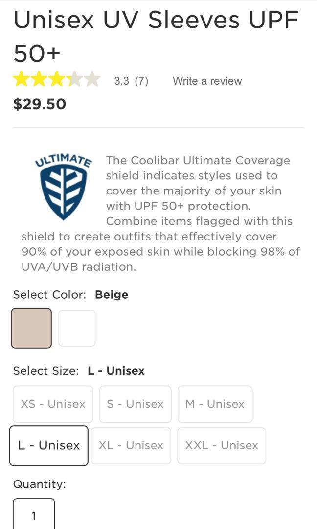 BN CooliBar SPF50 Sun Protection Sleeves Short Version Size L