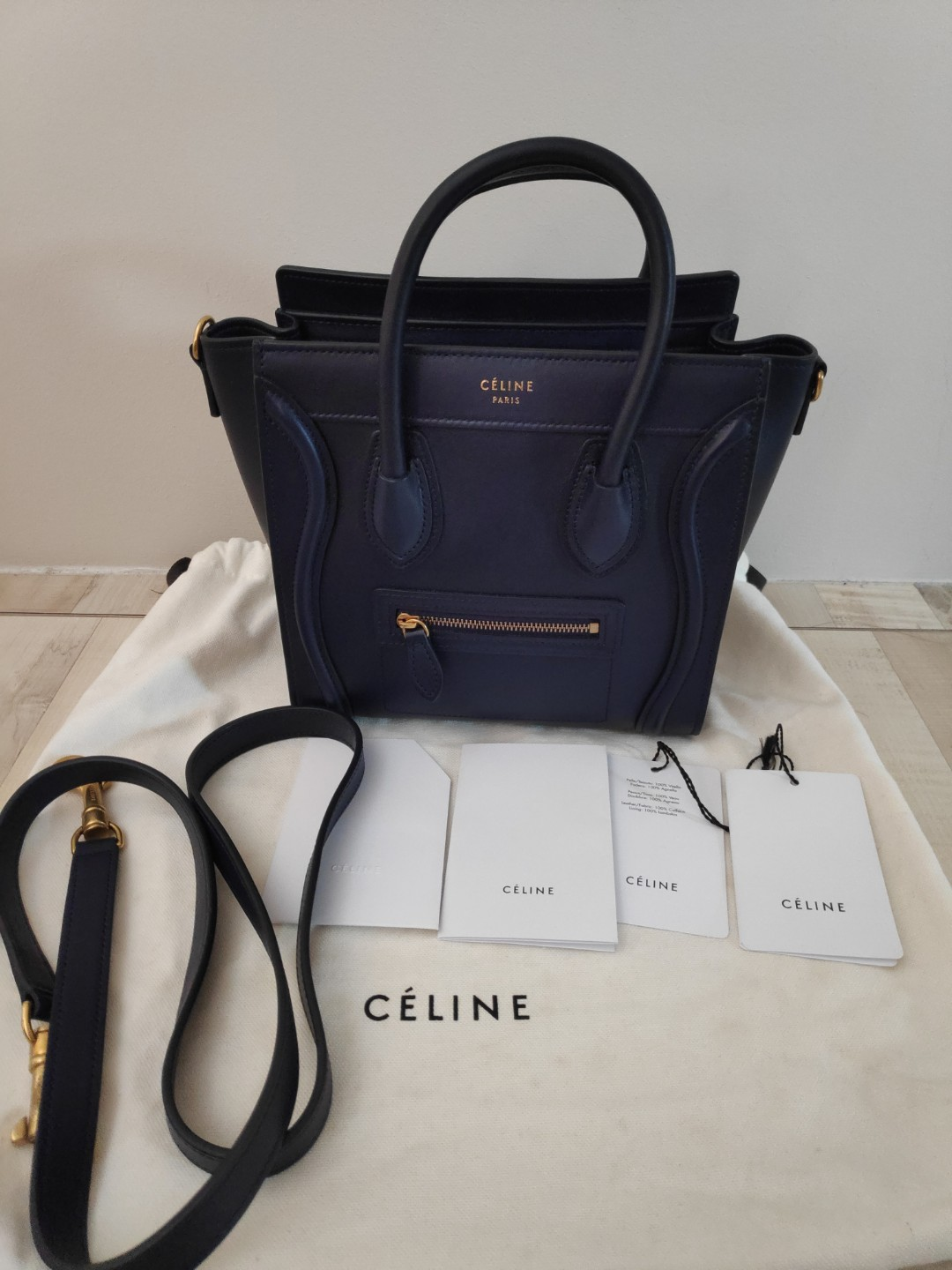 615bfe8c48 BNIB Celine Nano Luggage Smooth Calf Skin Navy Blue