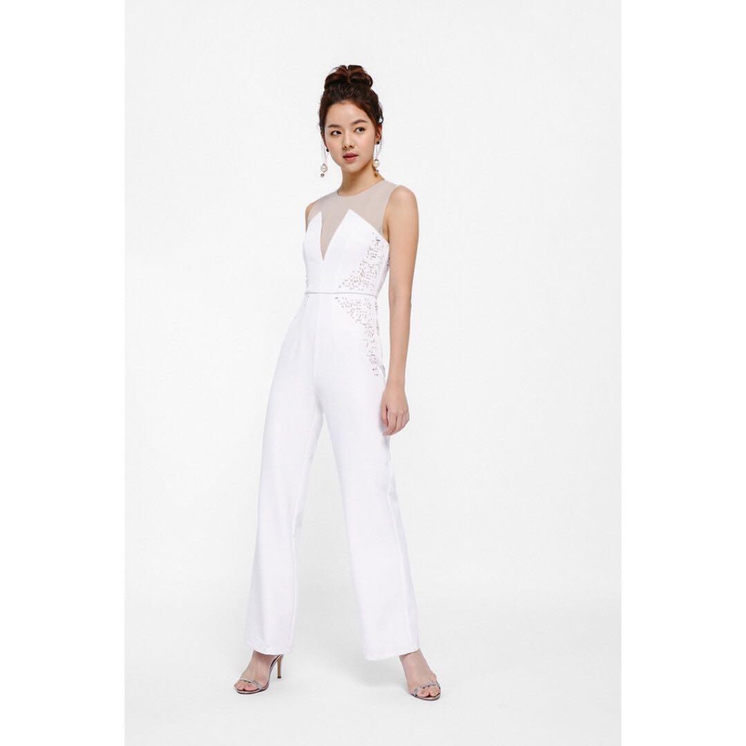 d7a44c4755d1 BNWT Love Bonito LB Titania Laser-cut Bustier Jumpsuit in White (XS ...