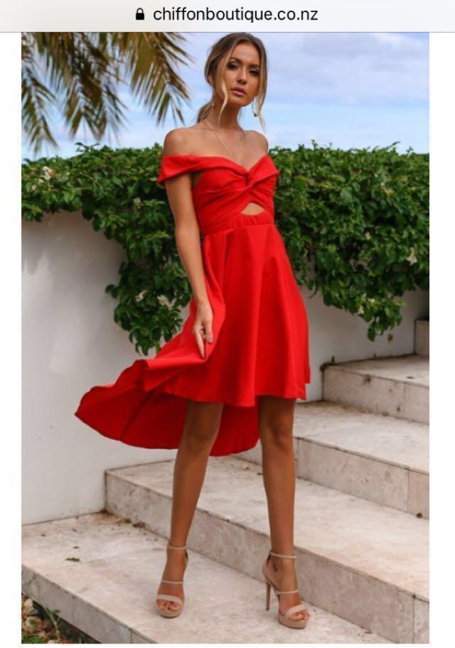 BNWT Red off shoulder dress