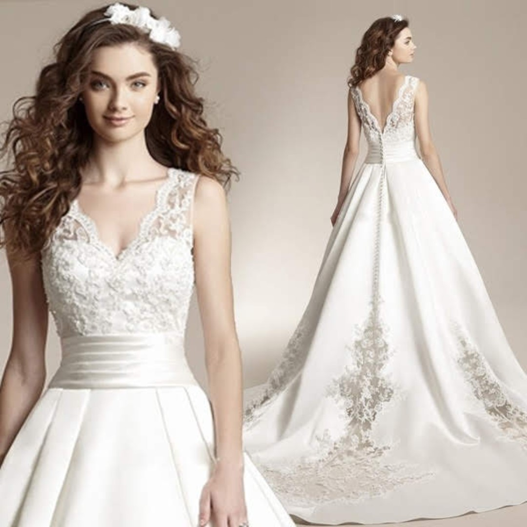 6501ce85084a Bridal, Big Tail, Thick Satin Wedding Dress 2018 Europe And America ...