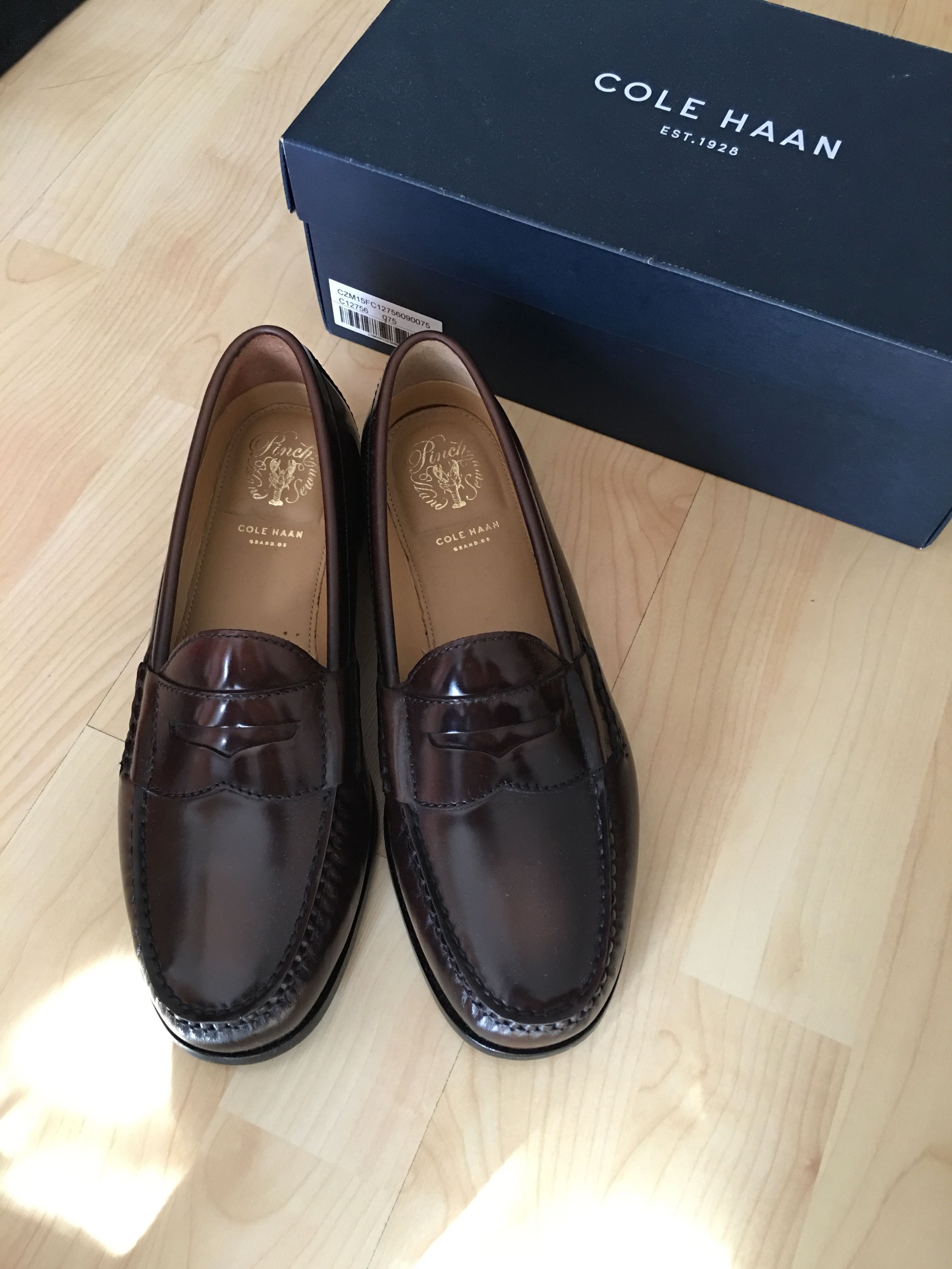 b72e12bec9a Cole haan brown pinch grand penny loafers