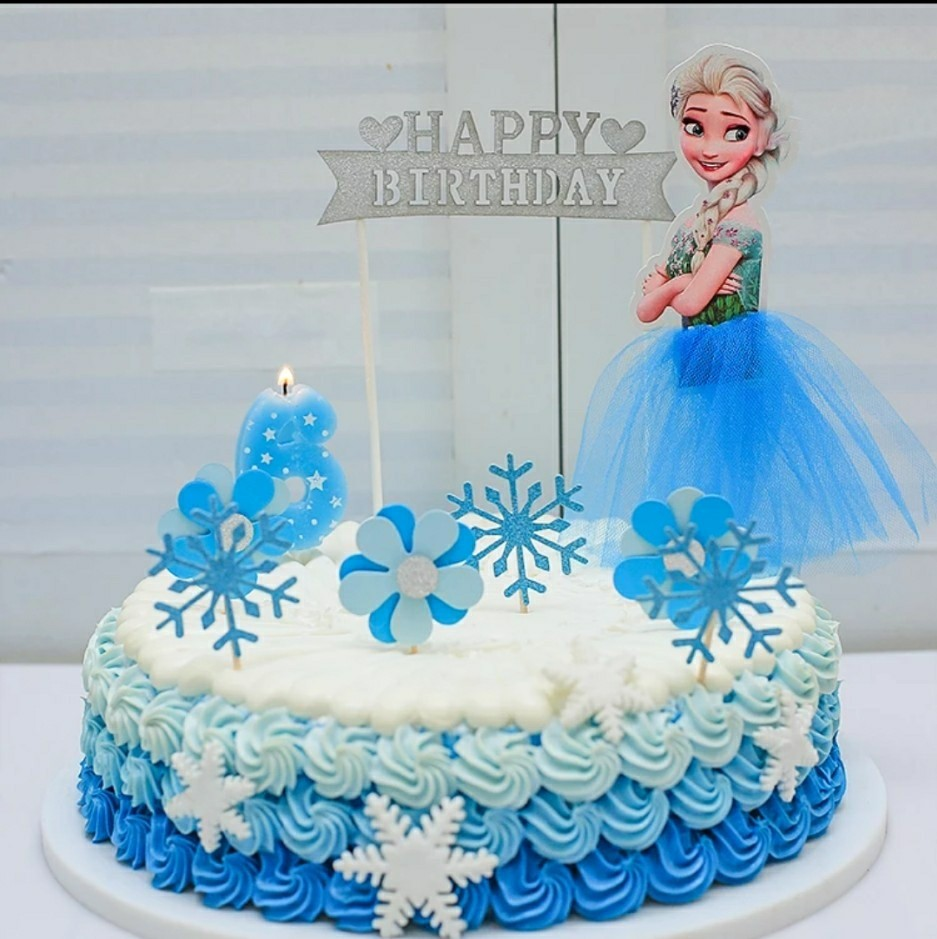 Elsa Happy Birthday W Snowflakes Cake Topper Everything Else On