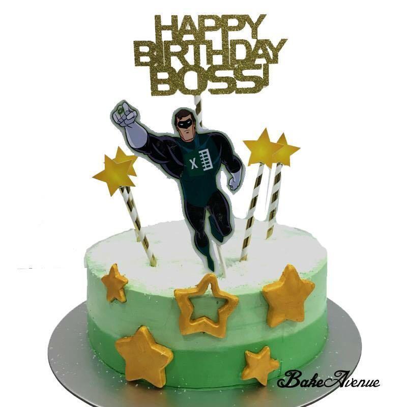 Prime Green Lantern Theme Birthday Cake Food Drinks Baked Goods On Funny Birthday Cards Online Amentibdeldamsfinfo