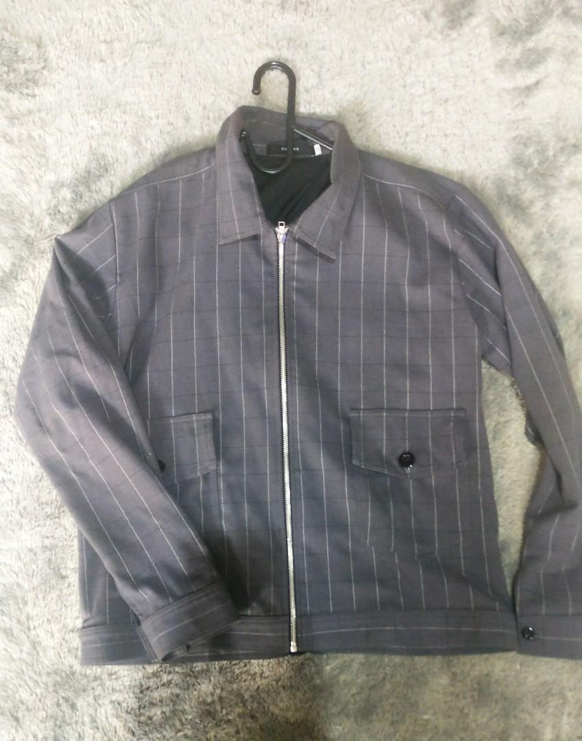 Grey Bomber Jacket Size L