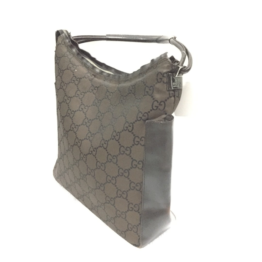 Gucci Dark Brown GG Supreme Canvas with Brown Leather Hobo Bag ... a57429f5258a8