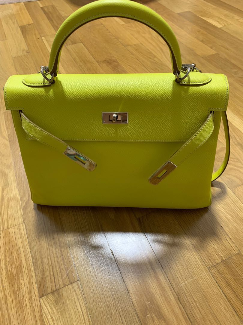 e679fb3a4f9e Hermes Kelly 32 Lime with Gris perle interior candy collection ...