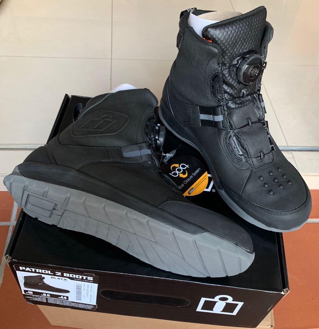 8.5 Black Icon PATROL 2 Waterproof BOA CE Certified Motorcycle Boots