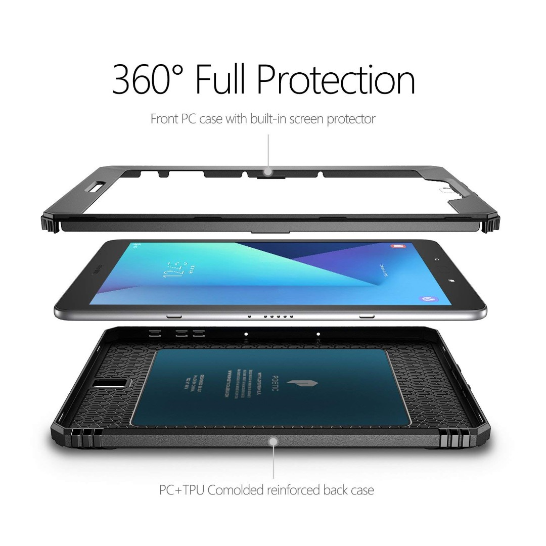 best website b4cc7 bfc8b [IN-STOCK] Poetic Revolution Galaxy Tab S3 9.7 Rugged Case with Hybrid  Heavy Duty Protection and Built-in Screen Protector and Kickstand