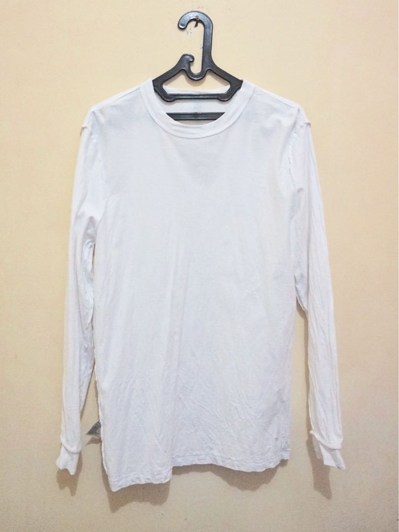 Kaos Lengan Panjang Polos Putih Fesyen Pria Pakaian Atasan Di Carousell