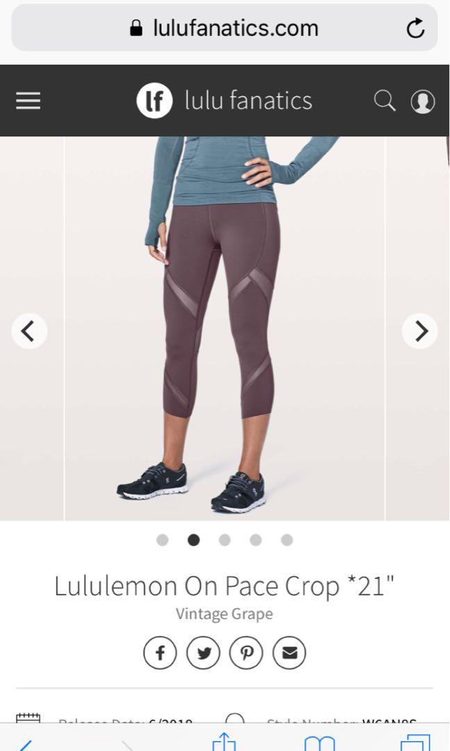 1d9d3a5ee Lululemon on pace crop vintage grape