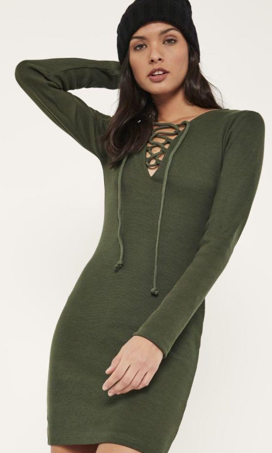 Misguided Size 10 Ribbed Khaki Green Bodycon L/S Dress