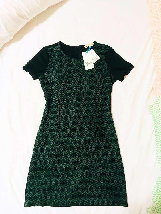 NWBWT Cocktail Emerald Laced black Dress
