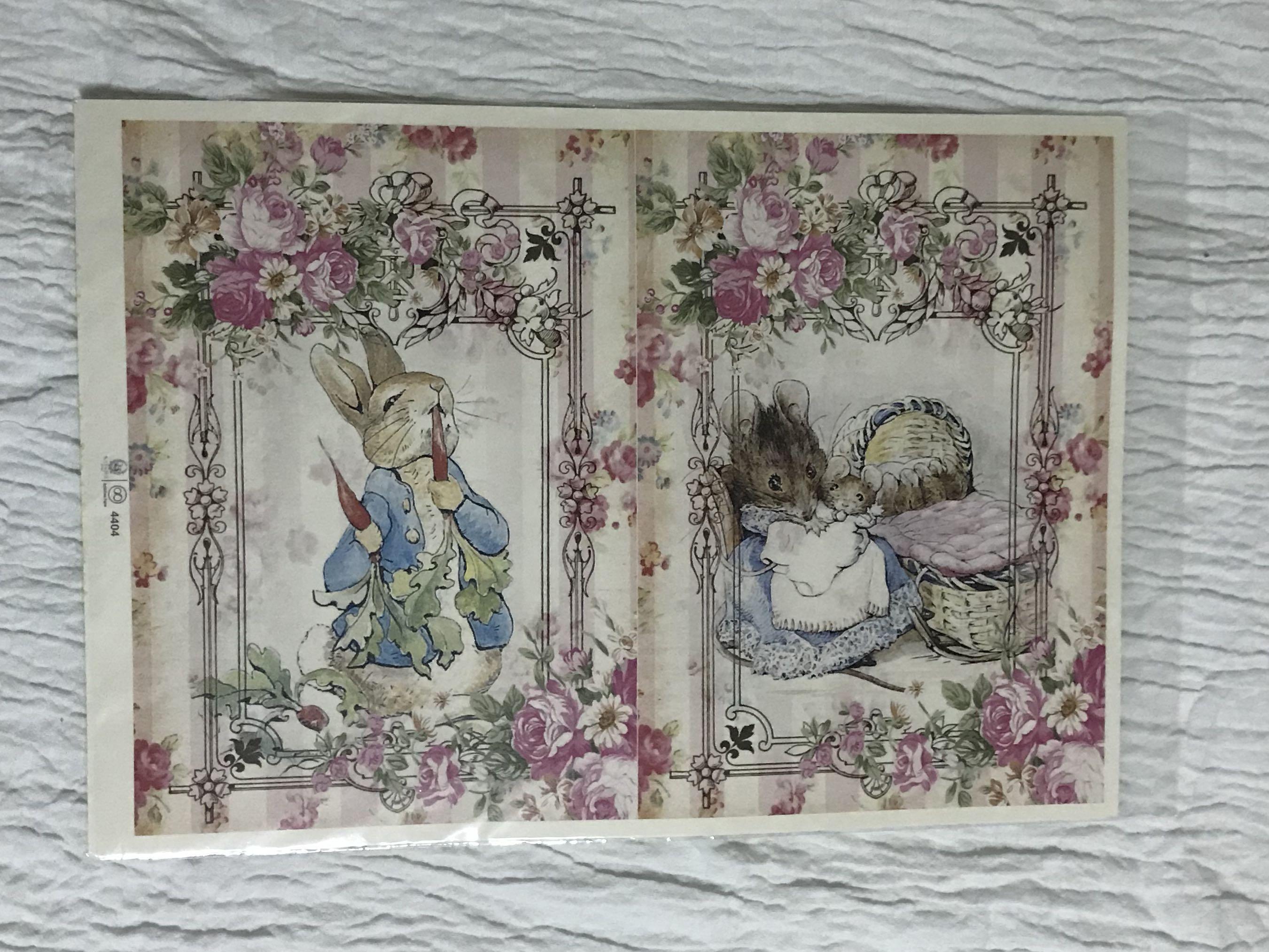 Paper decoupage , Vintage Peter Rabbit, Design \u0026 Craft