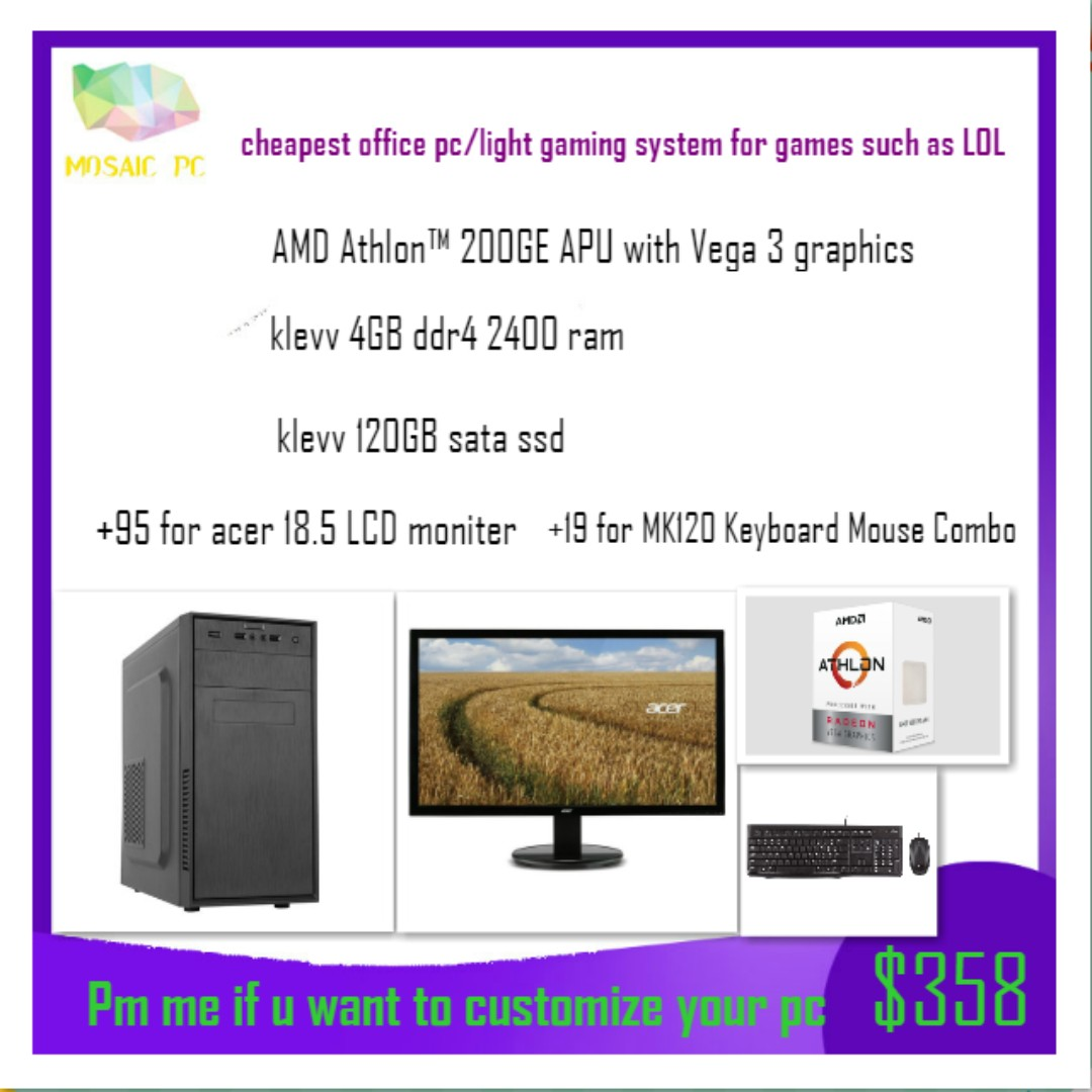 (Promo)cheapest duo core cpu office pc/light gaming desktop pc system(LOL  med 60-100fps,can run CSGO DOTA2 OVERWATCH)