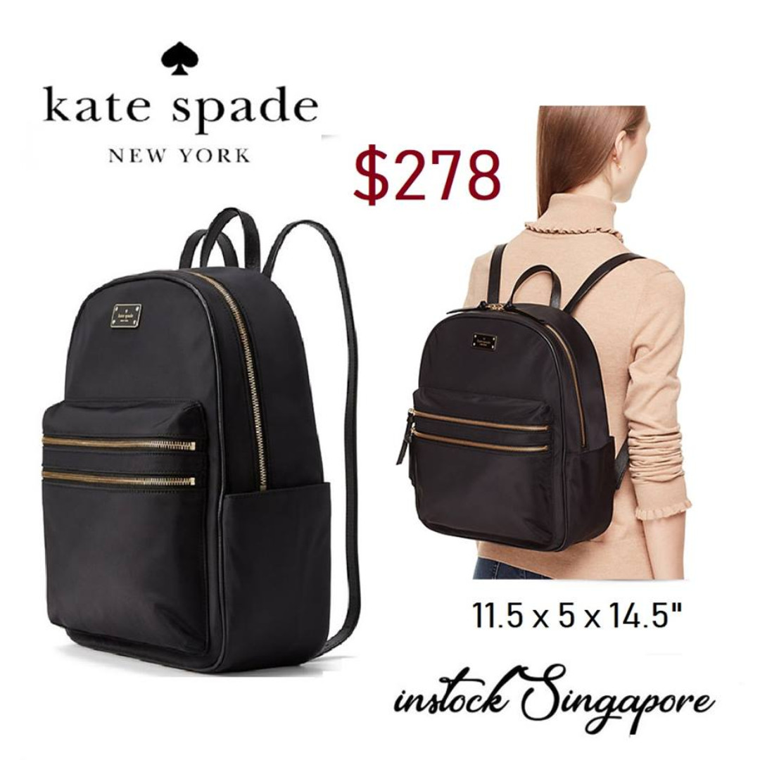 quality design e44fa f2fbd READY STOCK authentic new Kate Spade Bradley LARGE Backpack Bag black nylon