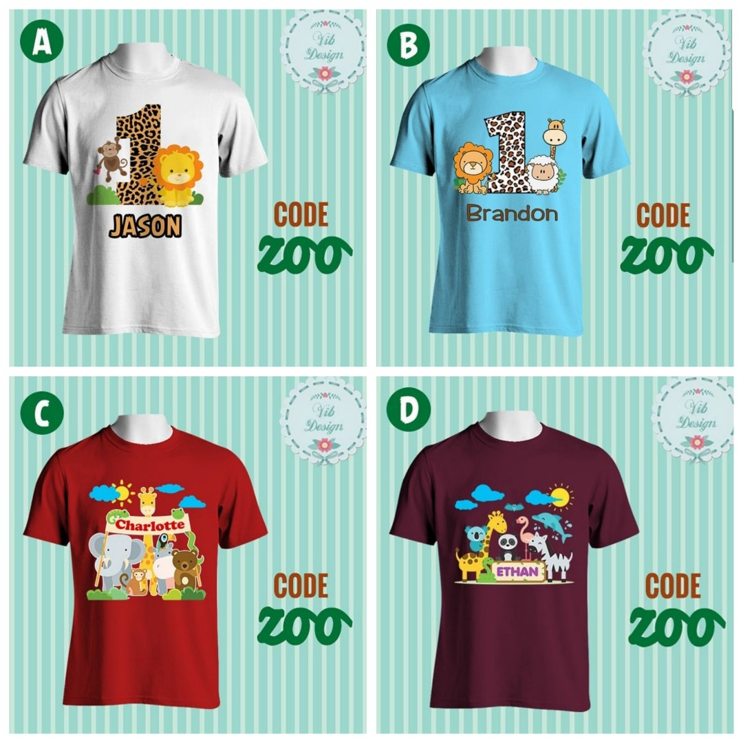 e166c43f1 Safari Zoo Personalised Family Tshirts Birthday Party Babies Kids