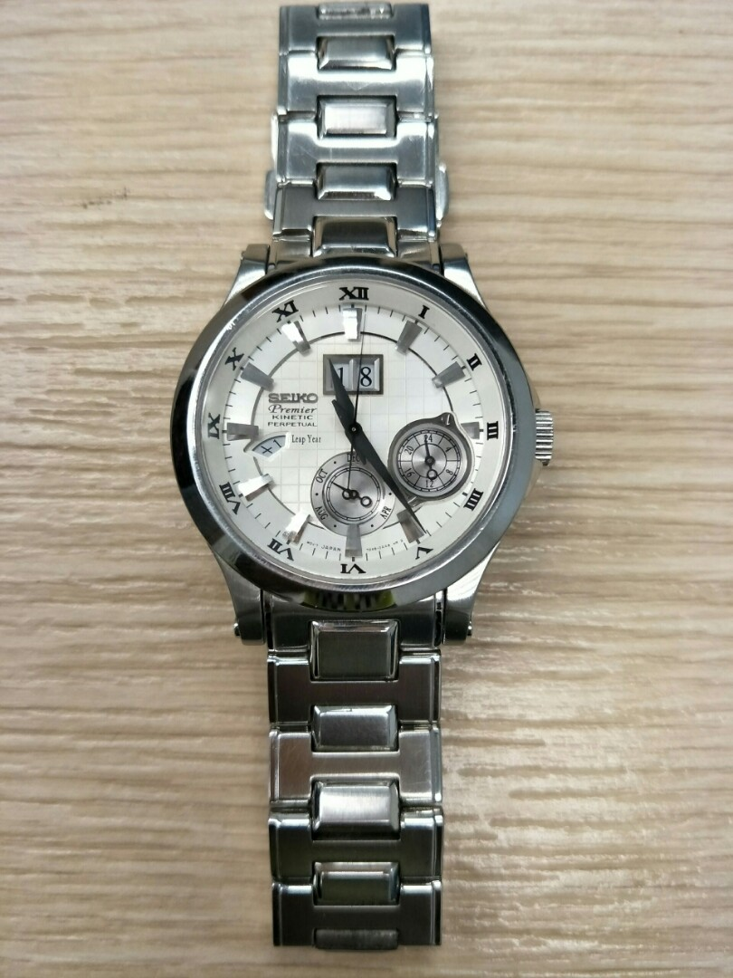 1b22c255f Seiko Premier Kinetic Perpetual Watch Stainless Steel, Men's Fashion ...
