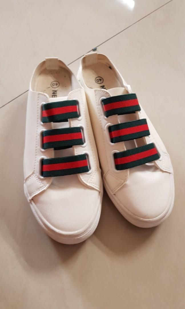 Sepatu gucci  sepatu putih  sepatu slip on 2ba2fcc313