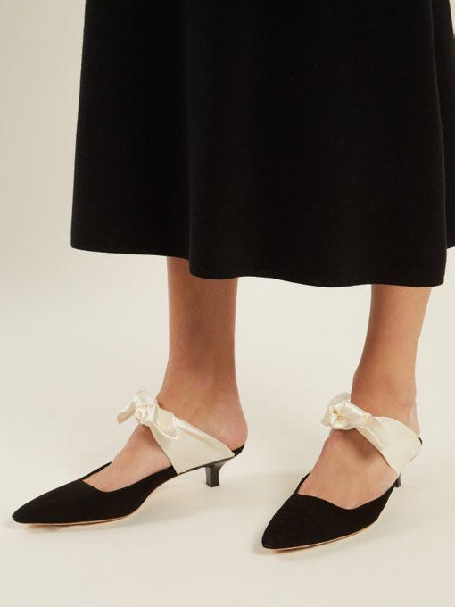 33786337bf19 THE ROW-inspired Coco Bow Suède Satin Mules