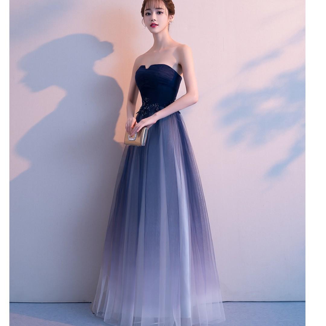 Wedding Ombre Blue Night Gown Dress, Women's Fashion