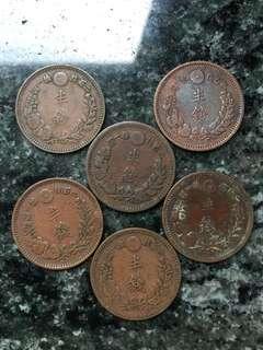 日本 明治年 半錢 銅幣 6個 不同年份