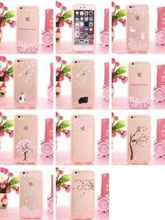 iPhone / Samsung Soft case pink transparent