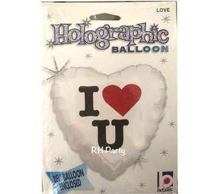 (18/10) Include helium I love you foil balloon  ( love / surprise / girlfriend/ Valentine/ wedding) - holographic