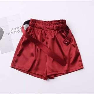 Red silky high waist shorts