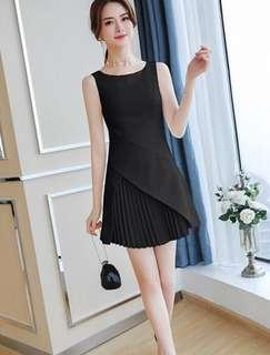 [ Premium Quality ] PO: Sizes Available From S To XL. Super Classy And Feminine Korean Style Sleeveless Pleated A Line/Skater/Flare Dress Good For Work/Office Or Play