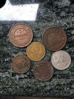 俄羅斯帝國 及 早期蘇聯 錢幣 合共6個