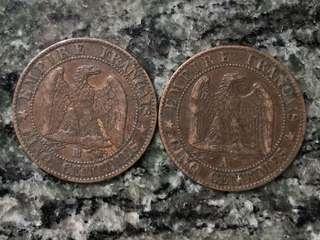 1855 及1856年 法國 拿破崙三世 5 cents 2個