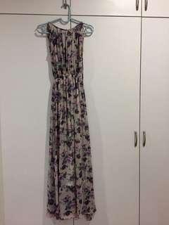 Purple floral maxi chiffon romantic dress