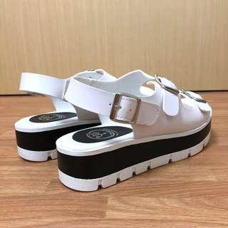 Synthetic Leather Platform Sandals by YOSUKE (Japan)