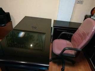 Meja kerja, side desk, kursi
