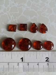 一手8粒天然 琥珀包珠cabochon, 包括2粒 10mm 兩粒14mm 圓形, 兩粒 8mm方形 兩粒 8乘12mm水滴型