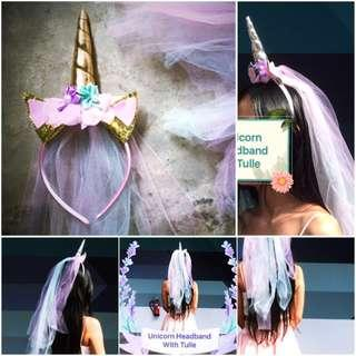 🚚 Tulle Veil Unicorn Headband