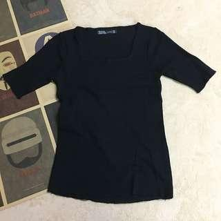 🚚 Zara 氣質方領口針織上衣-黑色