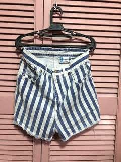 Vintage Blue-White Stopped Shorts