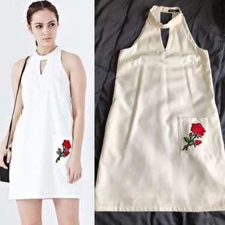 Choker Neckline White Shift Dress